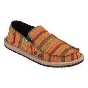 Sanuk Orange Stripe Donny Vintage Denim Slip-on